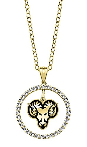 West Chester University Golden Rams 14kt Yellow Gold and Diamond Circle Charm Pendant by College Jewelry