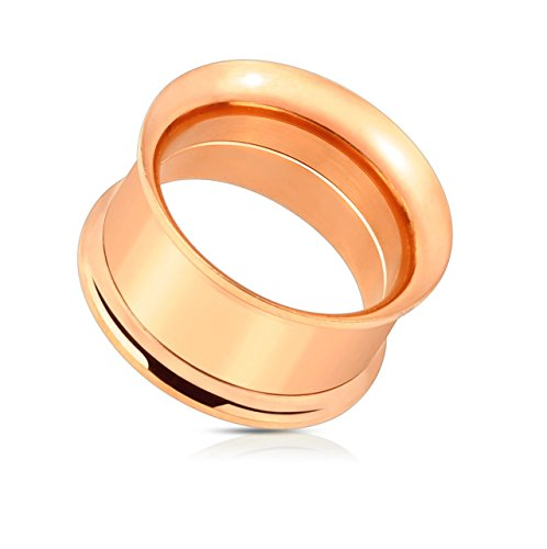 - Rose Gold IP 316L Surgical Steel Double Flared Screw-Fit Freedom Fashion Tunnel