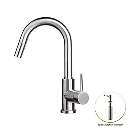 Zuhne Stainless Steel Pull Out Water Saving Kitchen Faucet U0026 Built In Soap  Dispenser Set