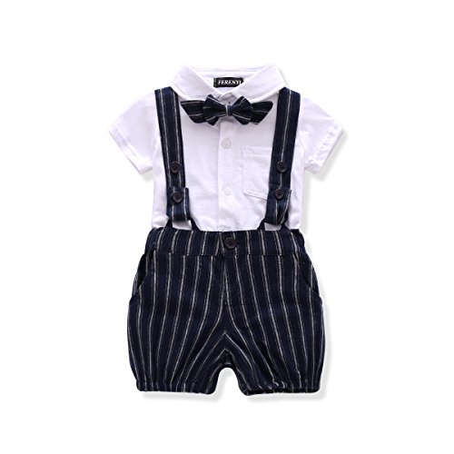 FERENYI US Baby Boys Bowtie Gentleman Romper Jumpsuit Overalls Rompers (0-6 Months, White 2)]()
