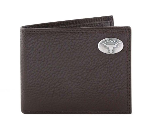 NCAA Texas Longhorns Brown Pebble Grain Leather Bifold Concho Wallet, One (Texas Longhorns Pebble Leather)