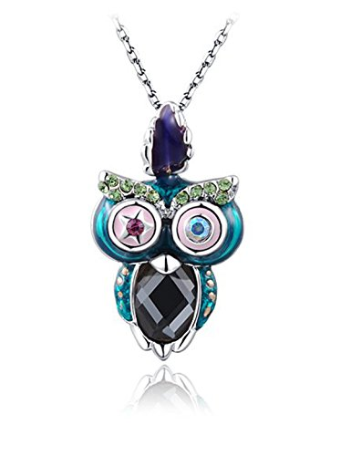 Owl Necklaces for Women White Gold Plated Crystal Water Glass Owl Pendant Valentine's Day Gifts Birthday Gifts Anniversary Gifts for Her Gifts for Girlfriend Gifts for Wife Gifts for Daughter Jewelry