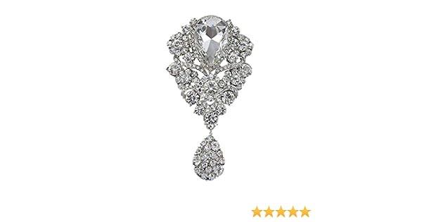 051b81385 Amazon.com: YAZILIND Lily Flower Rhinestones Alloy Zirconia Pendant Brooch  Pin for Women Girls Accessories(White): Jewelry