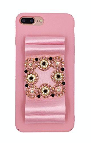 (Designer logo luxury elegant fashion ribbon rihnestones shiny fabric glitter Prom Wedding Case for iPhone 7 Plus (5.5) Pink)