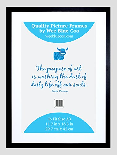 A3 Wooden Black Picture Frame 27.9 X 42 cms / 11.7 inch X 16.5 Inch Wall Wood Photo Frame Acrylic Safety 'Glass' By Wee Blue Coo FRA019 A3 Wall