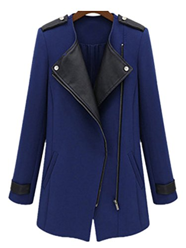 Fanessy Femme Manteaux Blazer Slim Trench Jacket Casual Automne Revers Gilet Cardigan Aile Casual Solid Coat Outwear Veste Bleu