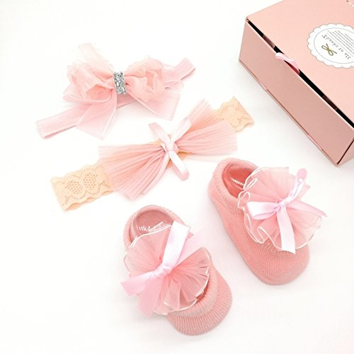 (Anna Set BABY HEADBAND AND SHOES, Baby Girl Headband,baby bow, Infant, baby, newborn Headband, Vintage pink, Shoes For Baby 3-6 months Set 2)