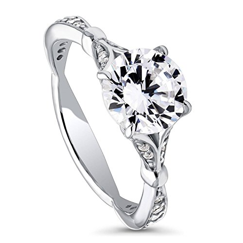 BERRICLE Rhodium Plated Sterling Silver Round Cubic Zirconia CZ Solitaire Promise Engagement Ring 2.28 CTW Size 7