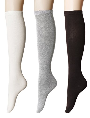 OSABASA Women's Cotton Knee High Socks - Casual Solid Colors Fashion Socks 3 Pairs SET2 Asia M (KWMS0192)