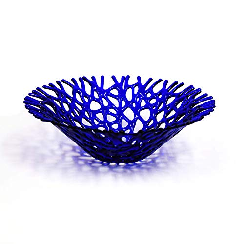 Blue Decorative Glass - Lacy Glass Art Sea Coral Deep Fruit Bowl in Cobalt Blue