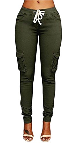 Caat Aycox Womens Solid Color Stretch Drawstring Skinny Pants Cargo Joggers Army Green XXL= US (Green Drawstring Pants)