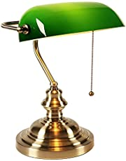 Traditional Bankers Lamp with Green Retro Glass Lamp Shade Vintage Table Lamp for Workplaces Library Bedroom Piano Style Lamp