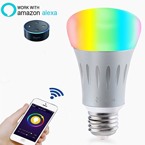 Smart LED Light Bulb, Wi-Fi Light Bulb, Multicolored LED Light Bulbs, A19, Dimmable, Smartphone Controlled Daylight & Night Light, Home Lighting, Works with Amazon Alexa