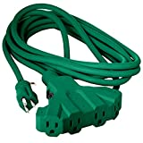 Maximm 25 Feet Outdoor Heavy Duty 4 Outlet Extension Cord/Wire with Overload Protection SJTW 12 AWG Electrical Power Cord - Great for Christmas - UL Listed