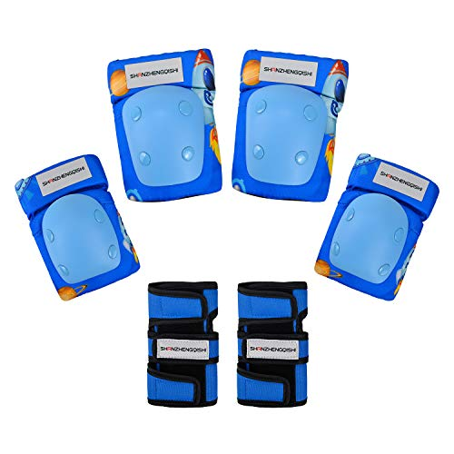 (Kids/Youth Knee Pad Elbow Pads Guards Protective Gear Set for Scooter Roller SkatesBMX Bike Skateboarding Inline Skating Rock Climbing Outdoor Sports (Blue))