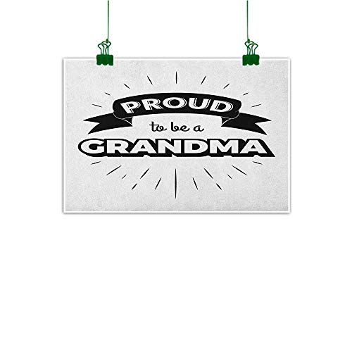 Posters & Prints Grandma Inspirational Quote with a Banner and Abstract Short Lines Monochrome Illustration Black White Horizontal or Vertical W36 x H32 (Pool-shorts Für Männer)