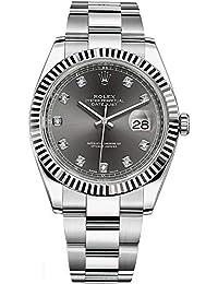 Datejust Dark Rhodium Dial Set with Diamonds Stainless Steel 41mm Watch
