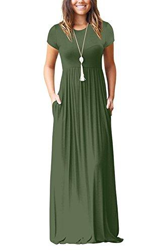 0839d1bd14 LHS Charmer Women Short Sleeve Loose Plain Maxi Dresses Casual Long Dresses  with Pockets