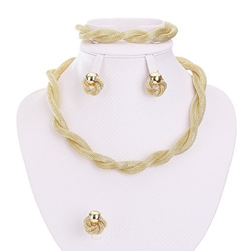 MOOCHI Africa Style Gold Plated Necklace Earrings Bracelet Ring Jewelry Set ()