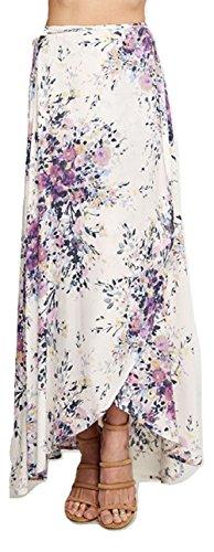 Love Stitch Floral Printed Wrap Skirt Violet (Medium) by Love Stitch