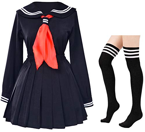 Classic Japanese School Girls Sailor Dress Shirts Uniform Anime Cosplay Costumes with Socks Set(Black)(L = Asia XL)(SSF08BK) -