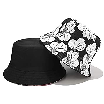Women Colorful Flower Printed Bucket Hat Outdoor Camping Fisherman Beach Cap