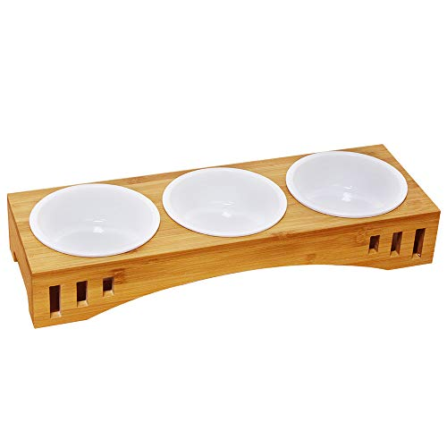 Petsoigné Basic Cat Bowls with Wooden Stand Pet Dining Table Cat Feeder with Raised Bamboo Stand for Cats and Puppy (Treble Bowls, Ceramics) (Cat Raised Feeder)