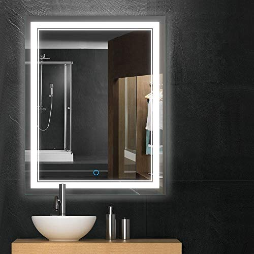 Keonjinn 36x28 Bathroom Mirror Anti-Fog Wall Mounted Makeup Mirror with LED Light Over Vanity (Horizontal/Vertiacl) ()