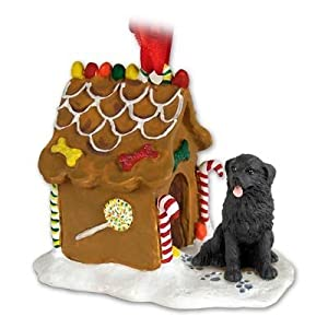 NEWFOUNDLAND Dog NEW Resin GINGERBREAD HOUSE Christmas Ornament 30 7