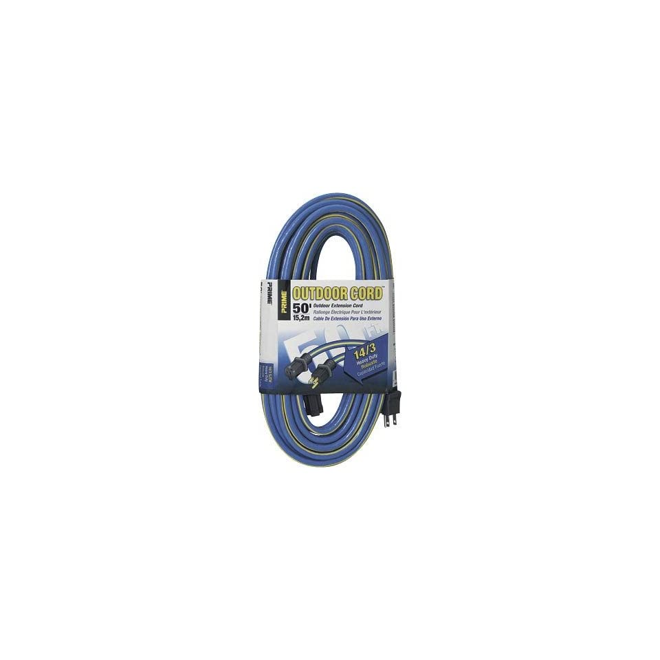 Prime Wire & Cable KC506730 50 Foot 14/3 SJTW Kaleidoscope Heavy Duty Outdoor Extension Cord, Blue and Yellow
