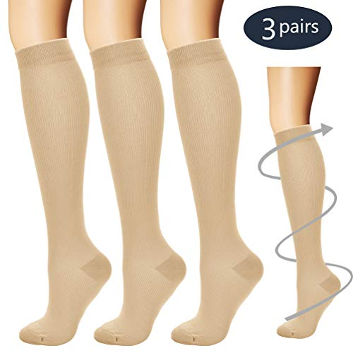 Compression Socks,(3 pairs) Compression Sock for Women & Men - Best For Running, Athletic Sports, Crossfit, Flight Travel - Suits Nurses, Maternity Pregnancy, Shin Splints - Below Knee High, Nude, S/M