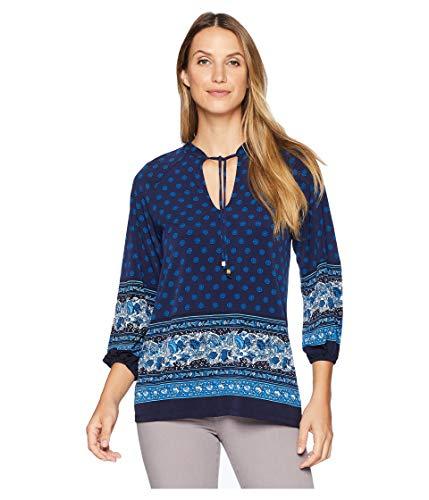 - Michael Michael Kors Womens Sunny Batik Printed Pullover Peplum Top Navy S