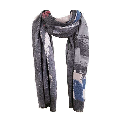 (SOJOS Premium Soft Long Wool Viscose Scarves Shawl Wrap Scarf SC306 With Shiny River-Dark Grey)