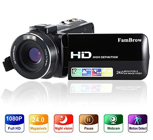 Digital Video Camera Camcorder Full HD 1080P 24MP Digital Camera Recorder with 3.0 Inch IPS...