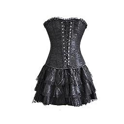 Topmelon Womens Fashion Gothic Boned Corset Bustier Skirt (XXXXXXL, Black)