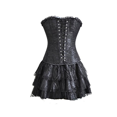 Wet Look Lace Up Bustier - 1