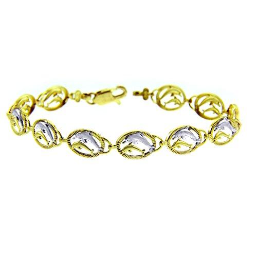 Petits Merveilles D'amour - 10 ct Deux Tone Or Bracelet - Deux Dauphins Bracelet