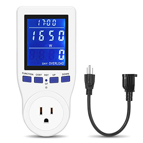 ([2019 Upgrade] Electricity Usage Monitor Power Meter Plug Extension Cord Home Electrical Analyzer with HD LCD Backlight Display Volt Amps Watt kWh Consumption Overload Protection Calculate CO₂Emission)