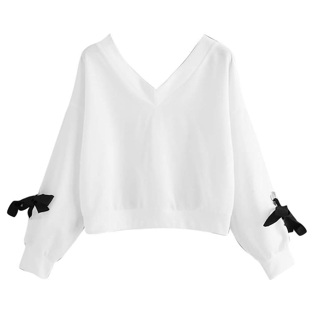 Women's Girl's Cropped Top, Jiayit Fashion Women Casual Long Sleeve Sweatshirt V-Neck Bow Tie Pullover Top Blouse