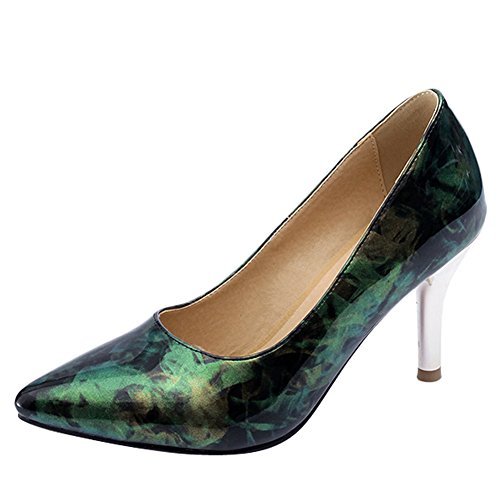 Latasa Womens Pointed-Toe High Heel Pumps Green LszLGbdlU