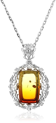 Rhodium Plated Silver Rainbow Amber Rectangular Ornamental Pendant Necklace, 18