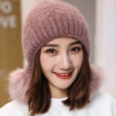 6c8e1bc07f378 Amazon.com  FelixStore Female Outdoor Warm Faux Fur Hat Women Thick Fur  Hats Lady Warm Bomber Hat Ear Protection Breathable Winter Thick Cap  Knitting Cap  ...