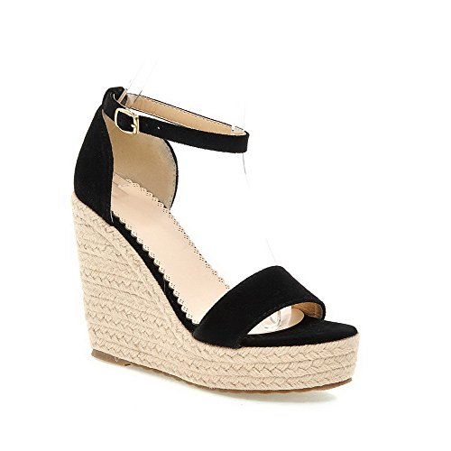 AgooLar Women's Nappa Buckle Open-Toe High Heels Solid Sandals Black rfjycy9
