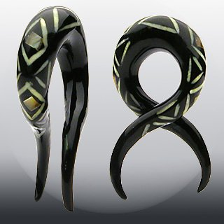 - WickedBodyJewelz Organic Hand Carved Ear Gauges - Buffalo Horn with Abalone and Bone Inlay Twist Taper Polishing with Tribal Design. 0G (8mm), Sold as a Pair