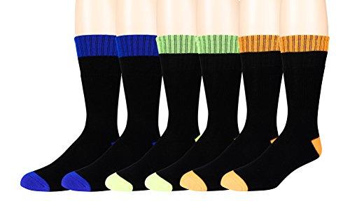 Men's Work Socks - 6 Pair -Moisture Control Fibers - Reinfor