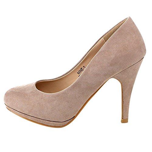 Bella Marie Womens Nine-1 Suede Almond Toe Classic Pumps Stiletto Party Dress Heel Taupe EBZ0X3yRx