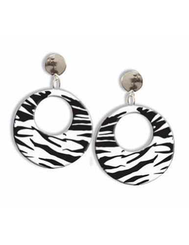 Zebra Earrings (Forum Novelties Clip on Earrings Zebra White- Set of 2)