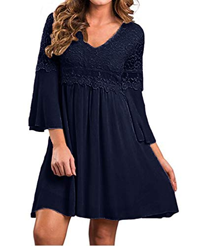 ZANZEA Women's Vintage Floral Lace V Neck 3/4 Bell Sleeve Cocktail A-line Swing Party Casual Mini Dress Navy M