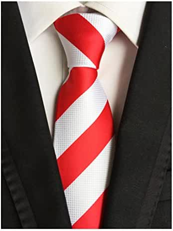 MENDENG Red White Striped Classic Woven Jacquard Silk Business Men's Leisure Tie