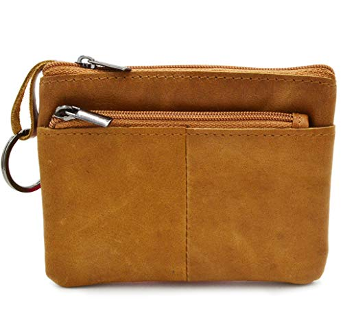 Women Genuine Leather Coin Pouch Zip Mini Purse Wallet Key Chain 3 Zipper